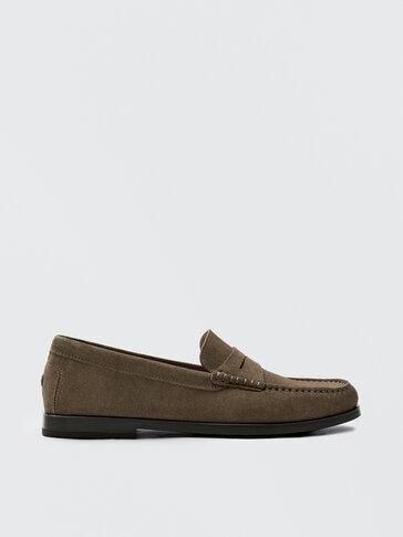 Split suede leather mink loafers