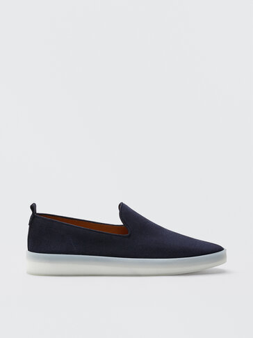 Sporty blue leather loafers