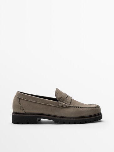 MINK-COLOURED NUBUCK LEATHER LOAFERS