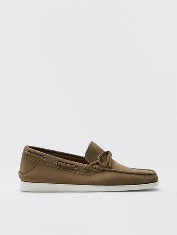 Sand-coloured split suede deck shoes