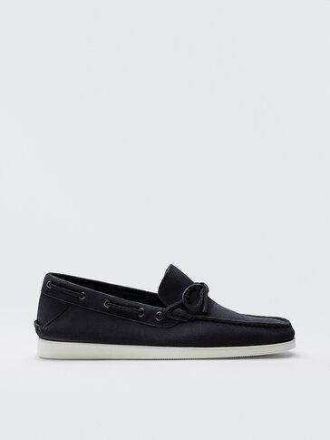 Blue split suede deck shoes