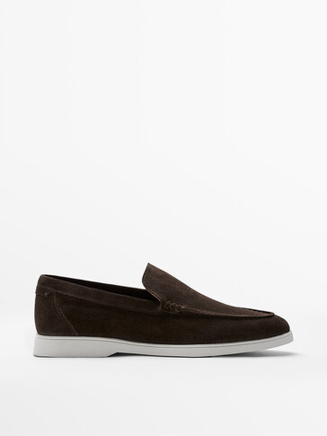 BROWN SOFT SPLIT SUEDE LOAFERS