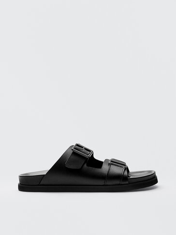 BLACK LEATHER SANDALS WITH BUCKLES