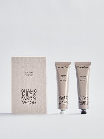 (40ml) Chamomile & Sandalwood gel garbitzaile eta esku-krema paketea