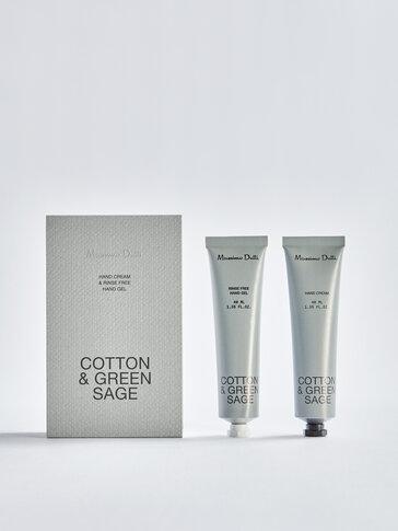 (40ml) Cotton & Green Sage gel garbitzaile eta esku-krema paketea