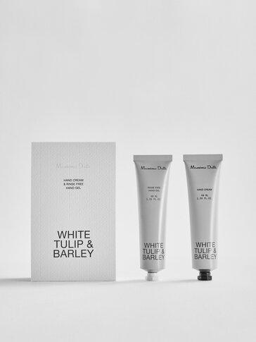 (40ml) White Tulip & Barley gel garbitzaile eta esku-krema paketea
