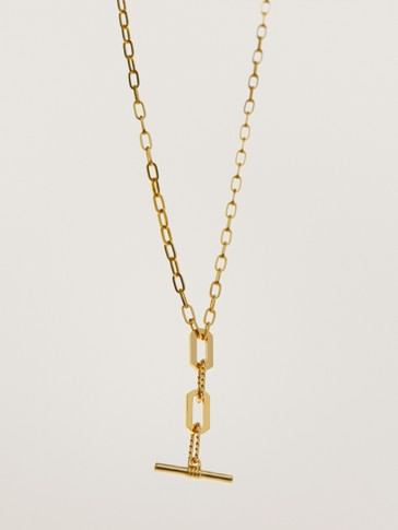 Gold-plated T chain necklace