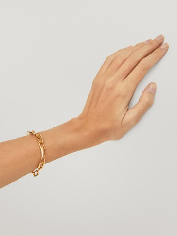 Gold-plated chain link bracelet