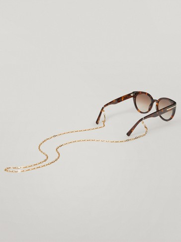 Gold-plated sunglasses chain