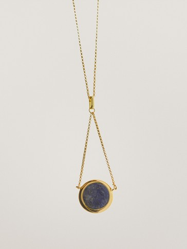 Gold-plated crossover stone necklace