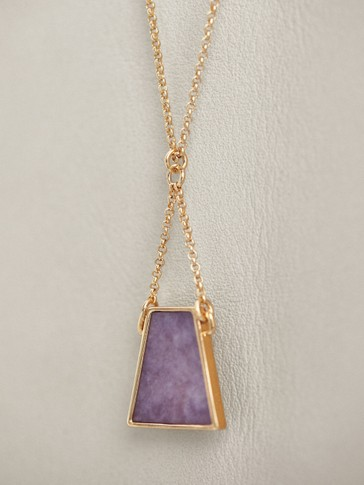Gold-plated pink stone necklace