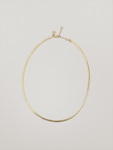 Waterproof gold plated flat chain necklace
