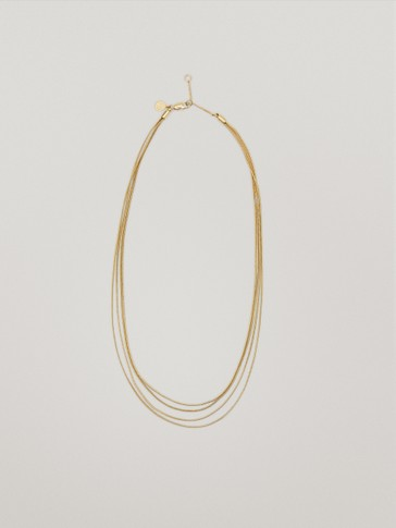Waterproof gold plated multi-chain necklace