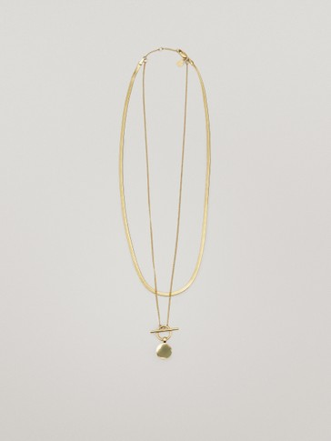 Waterproof gold plated double chain necklace
