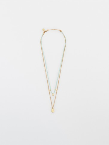 Double chain blue gold-plated necklace