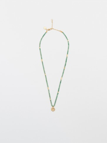 Gold-plated green stone necklace