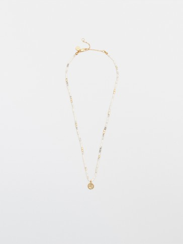 Gold-plated white stone necklace