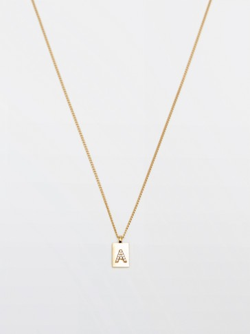 Gold-plated letter A necklace