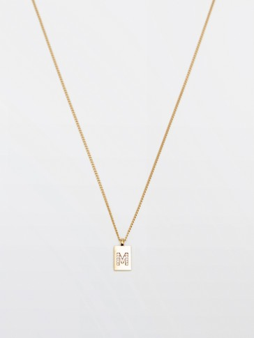 Gold-plated letter M necklace