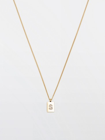 Gold-plated letter S necklace
