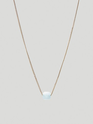 Gold-plated March stone necklace