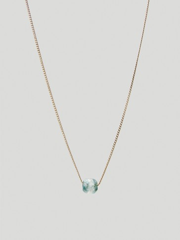 Gold-plated May stone necklace