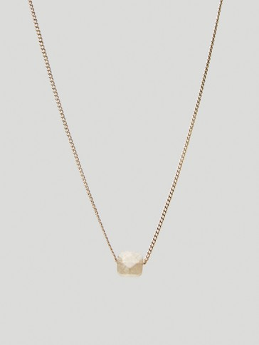 Gold-plated June stone necklace