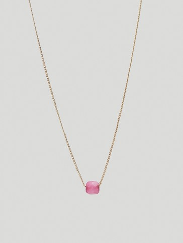 Gold-plated July stone necklace