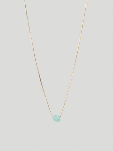 Gold-plated August stone necklace