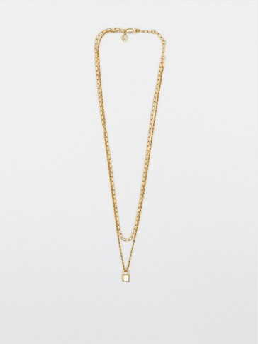 Gold-plated sterling silver double necklace with lock