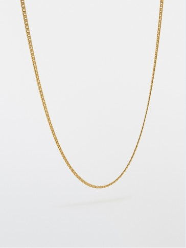 Gold-plated sterling silver chain necklace with ring