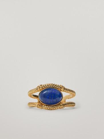 Gold-plated lapis lazuli stone bracelet