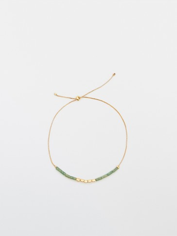Gold-plated green stone bracelet