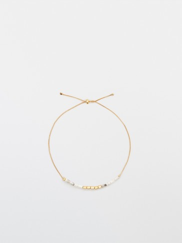Gold-plated white stone bracelet