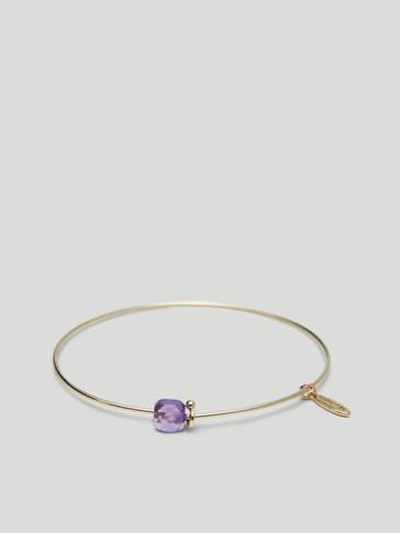 Gold-plated February stone bracelet