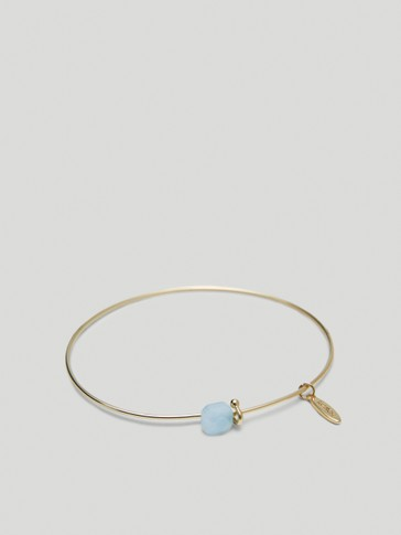 Gold-plated March stone bracelet