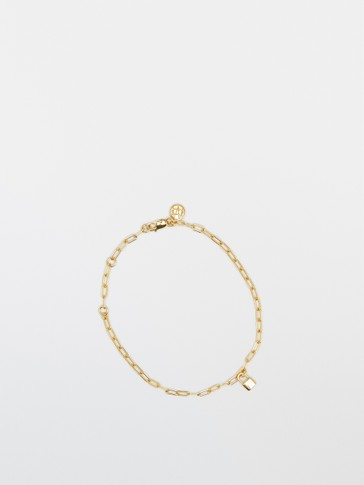 Gold-plated sterling silver bracelet with lock