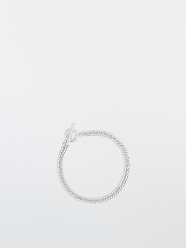 Sterling silver chain bracelet with ring