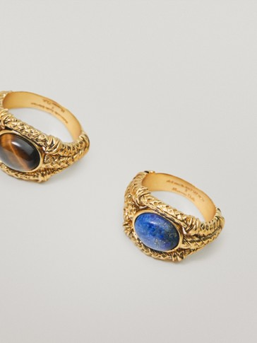 Gold-plated lapis lazuli stone ring