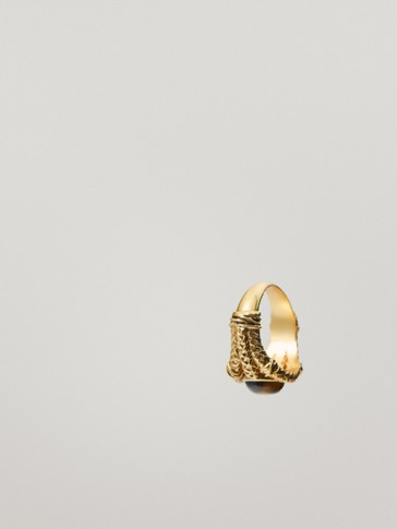 Gold-plated tiger eye stone ring