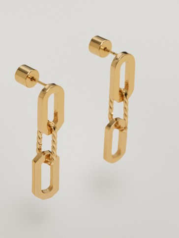 Gold-plated chain link earrings
