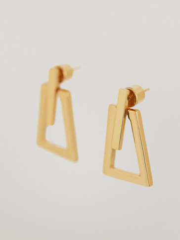 Gold-plated triangle earrings