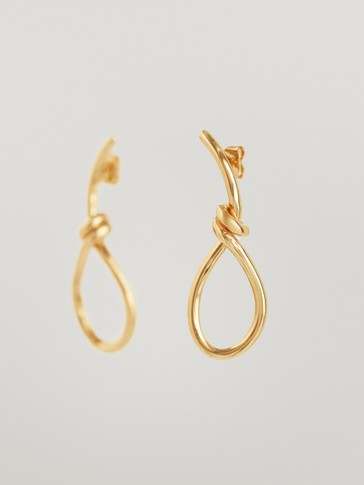 Gold-plated knot drop earrings