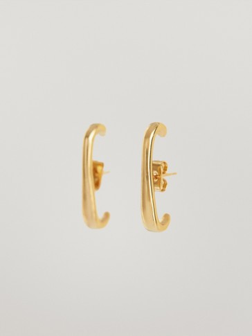 Gold-plated bar earrings