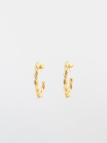 Gold-plated braided earrings