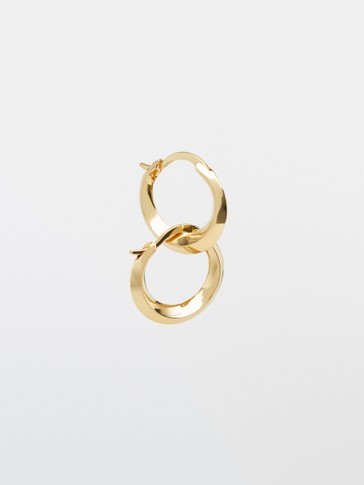 Gold-plated hoop earrings with contrast detail