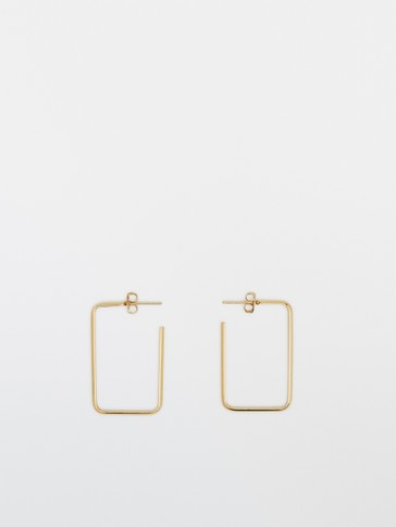 Gold-plated square earrings