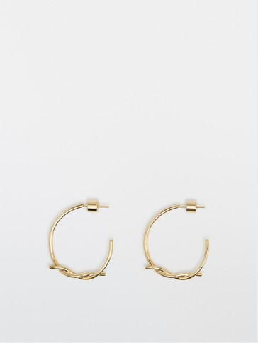 Gold-plated knotted hoop earrings