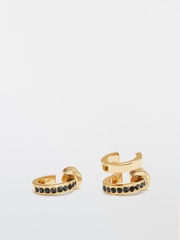 Gold-plated rhinestone-encrusted earrings
