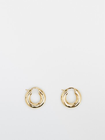Gold-plated thick hoop earrings